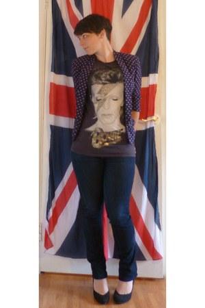 leopard print Primark flats - Uniqlo jeans - Primark top - black new look heels