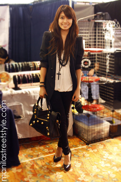 black Zara blazer - black Topshop leggings - black bag - black kokei accessories