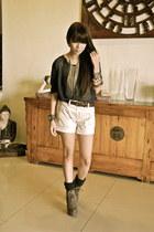 Mango shorts - Primadonna boots - f21 top