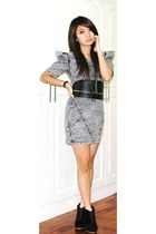 gray Wisdom dress - black twinky shoes - black shopglitteratimultiplycom belt