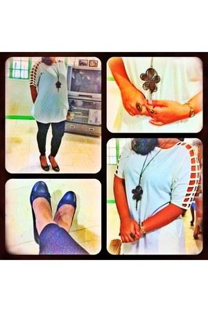 necklace - leggings - blouse - ring - pumps