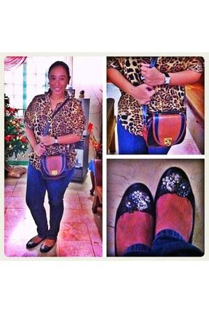 satchel bag - animal print blouse - shiny flats