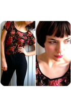 pink Solemio top - black Urban Outfitters jeans