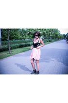 black Topshop bra - pink dress - black boots