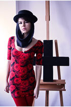 red Topshop dress - red tights - black hat