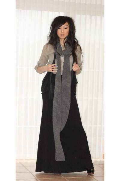 handmade scarf - Steve Madden boots - Theory jacket - Anthropologie blouse