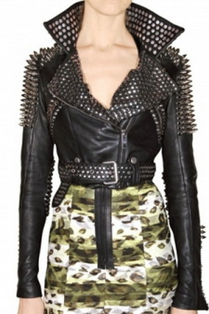 black leather studs jacket