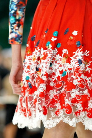 red lace print Erdem dress