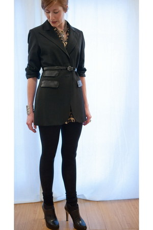 black platforms Nine West boots - black H&M leggings - black thrifted blazer - s
