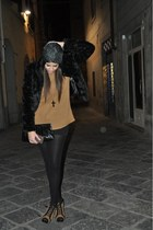 faux fur H&M coat - leather vintage bag - American Apparel shorts - Gap wedges -