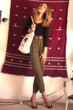 black Gap jumper - brown ann taylor belt - green Zara pants - beige World Market
