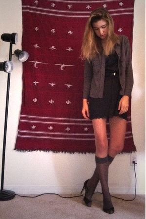 black slip as a dress vintage intimate - brown woolen Gap shirt