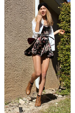 black asos hat - white vintage shirt - maroon MinkPink dress - brown asos boots