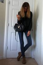 gray vintage sweater - black vintage bag - navy blue asphault jeans - dark brown