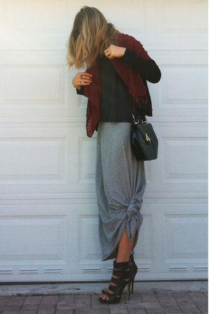 gray jumper - silver Target dress - black bag - black Aldo shoes - black kooples