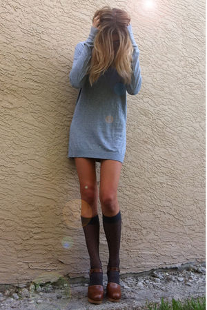 silver norma and kamali dress - gray unknown socks - brown Steve Madden - white