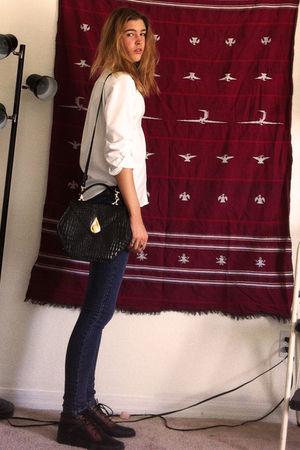white Lands End shirt - black unknown bag - blue blue asphault jeans - black unk