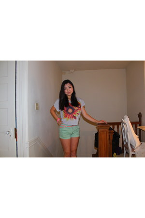 carrot orange Forever 21 shirt - aquamarine cotton Forever 21 shorts