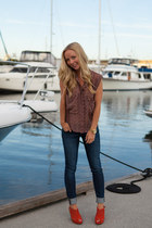 citizens of humanity jeans - patterson kinkaid blouse - Anthropologie wedges