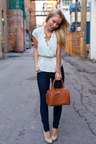 tory burch bag - J Brand jeans - Nine West pumps - Aritzia blouse