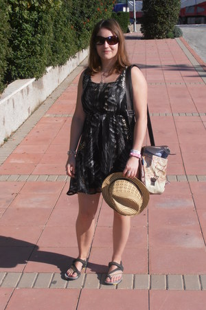 nude Primark hat - gray new look dress - eggshell Not on the highstreet bag