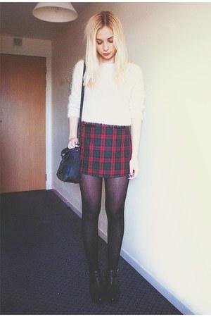 tartan Urban Outfitters skirt - fluffy white Topshop jumper