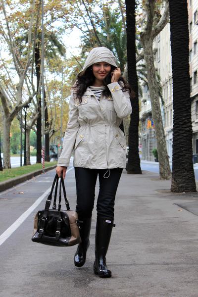 black Hunter boots - beige Mango coat - navy Diesel jeans