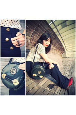 anchor ring asos accessories - Hush Puppies boots - olive green vintage bag