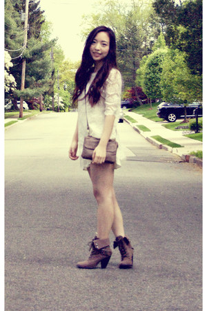 Spring boots - lace Forever21 dress - UO bag