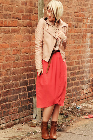 salmon Dahlia skirt - tawny tesco boots - nude Miss Selfridge jacket