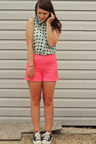 aquamarine Primark shirt - hot pink H&M shorts - black Converse sneakers