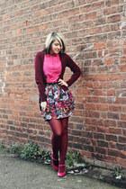 maroon Primark cardigan - blue Topshop skirt - bubble gum Topshop heels