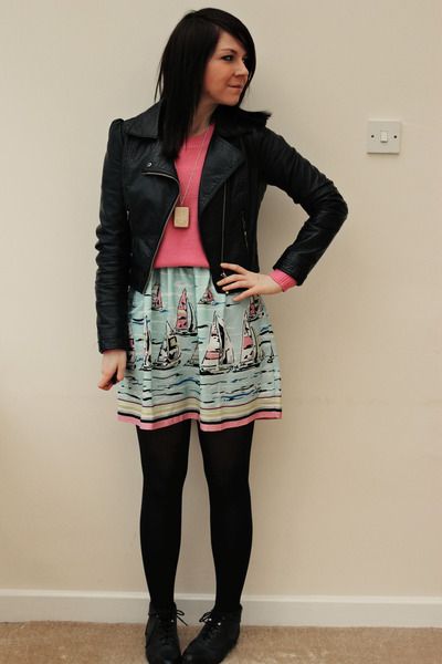 black H&M jacket - black new look boots - sky blue Republic dress