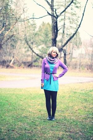 aquamarine Topshop dress - magenta Forever 21 scarf - amethyst H&M cardigan - bl