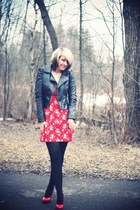 ruby red modcloth dress - black H&M jacket - red Dorothy Perkins heels