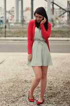 red red herring cardigan - aquamarine Glamorous dress - red H&M flats