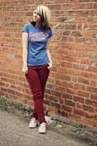 blue manchester orchestra shirt - maroon asos pants