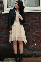 ivory Zara dress - black tesco boots - black H&M jacket - cream H&M sweater