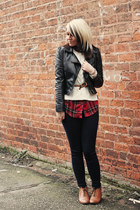 new look boots - Topshop jeans - Miss Selfridge jacket - Forever 21 sweater