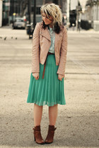 aquamarine Primark skirt - bronze tesco boots - nude Miss Selfridge jacket