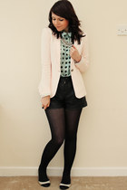 aquamarine Primark blouse - peach Zara jacket - black Very shorts