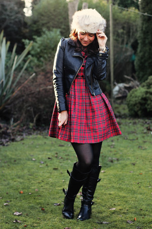 cream asos hat - black Debenhams boots - red vintage dress - black H&M jacket