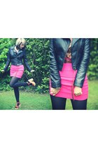 black H&M jacket - bronze Blowfish heels - light orange new look top - pink H&M