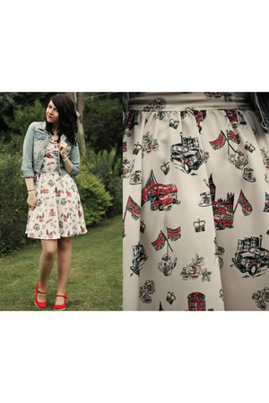 ivory River Island dress - sky blue new look jacket - red new look wedges
