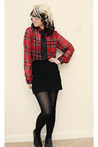 red Motel blouse - black new look boots - black Topshop skirt