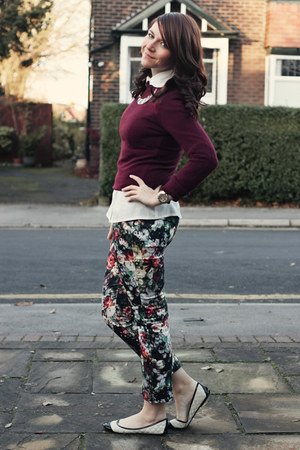 white OASAP blouse - maroon Primark sweater - black Topshop pants