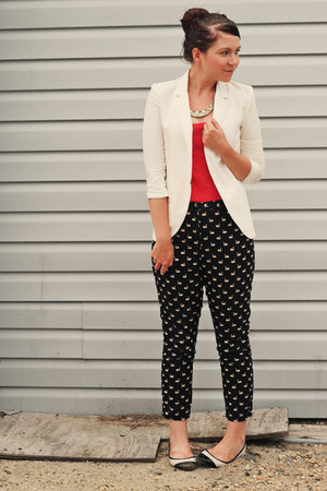 Topshop pants - chicnova blazer - Topshop shirt - new look flats