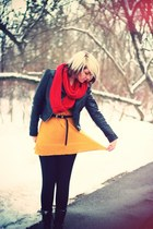 black xavi boots - black H&M jacket - ruby red Forever 21 scarf - mustard River
