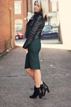 forest green Topshop skirt - black tesco boots - black H&M jacket