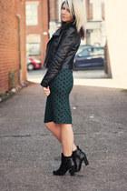 forest green Topshop skirt - black tesco boots - black H&M jacket